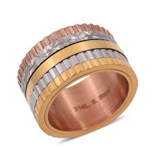 Jewelry - ION Plated YRG & Stainless Steel Spinner Ring